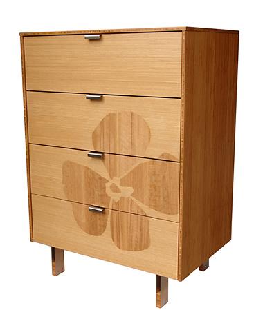 James Sanderson and Michael Iannone Green Mod Flower Inlay Tall Dresser