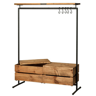 Noodles Noodles Clothing Rack 2 Wood & Boxes